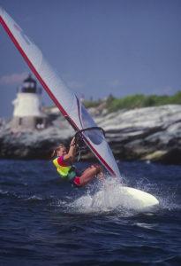 Nancy Johnson windsurfing in Newport, RI USA